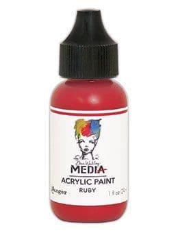 Dina Wakley Media - Acrylic Paints - 1oz Bottle - Ruby
