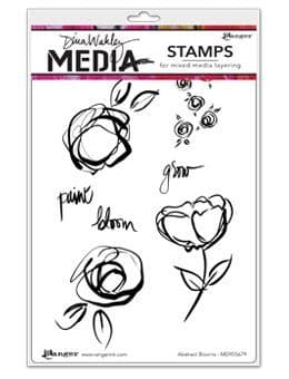 Dina Wakley Media - Rubber Stamp - Abstract Blooms