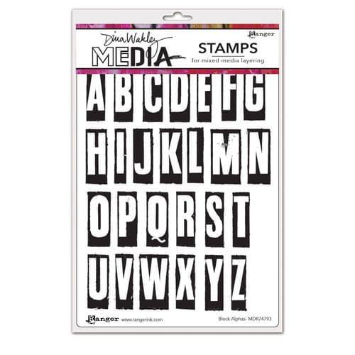 Dina Wakley Media  - Rubber Stamp - Block Alphas