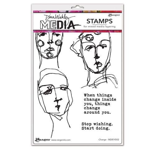 Dina Wakley Media  - Rubber Stamp - Change