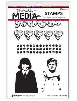 Dina Wakley Media - Rubber Stamp - Gals & Borders
