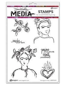 Dina Wakley Media - Rubber Stamp - Homage to Frida