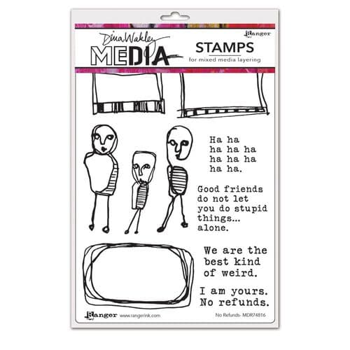 Dina Wakley Media  - Rubber Stamp - No Refunds