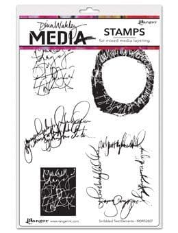 Dina Wakley Media - Rubber Stamp - Scribbled Text Elements