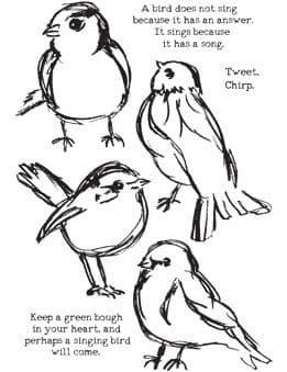 Dina Wakley Media - Rubber Stamp - Scribbly Birds