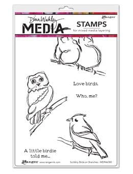 Dina Wakley Media - Rubber Stamp - Scribbly Birds on Branches
