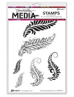 Dina Wakley Media - Rubber Stamp - Sketched layered Fronds