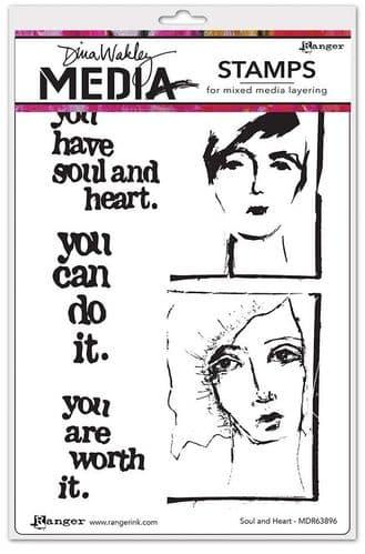 Dina Wakley Media  - Rubber Stamp - Soul & Heart