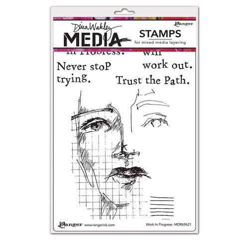 Dina Wakley Media  - Rubber Stamp - Work in Progress