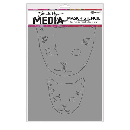 Dina Wakley Media - Stencil - Cat Heads Mask