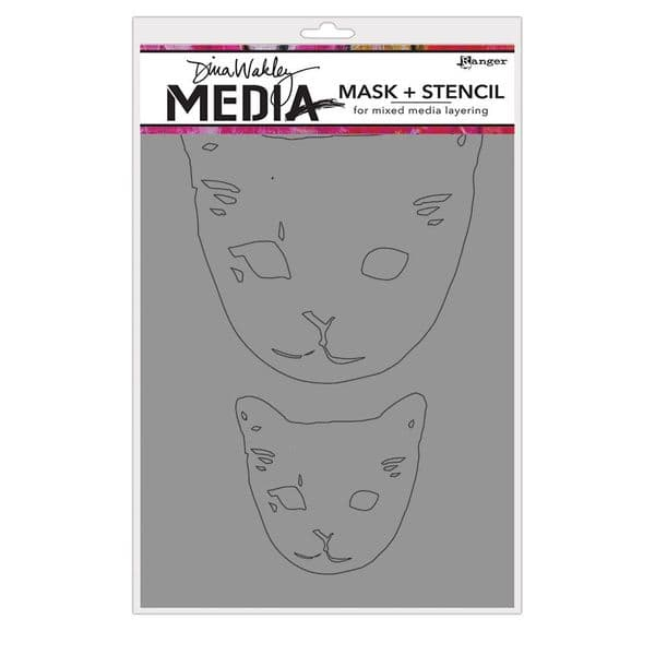 Dina Wakley Media - Stencil - Cat Heads Mask