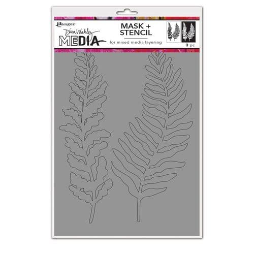 Dina Wakley Media - Stencil - Curly Frond Mask