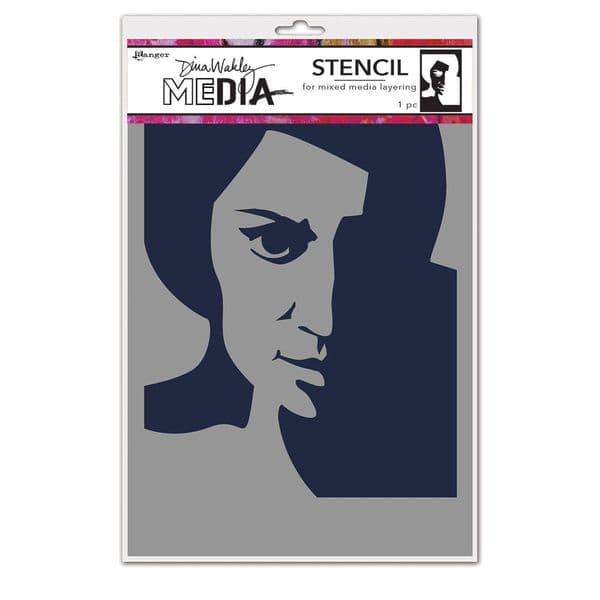 Dina Wakley Media - Stencil - Pensive Face