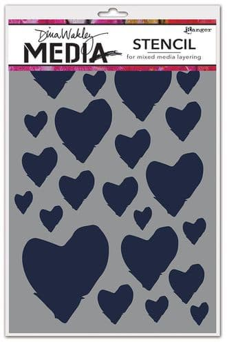 Dina Wakley Media - Stencil - The Best Hearts