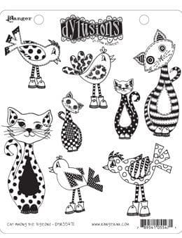 Dylusions - Rubber Stamps - Cat amongst the Pigeons