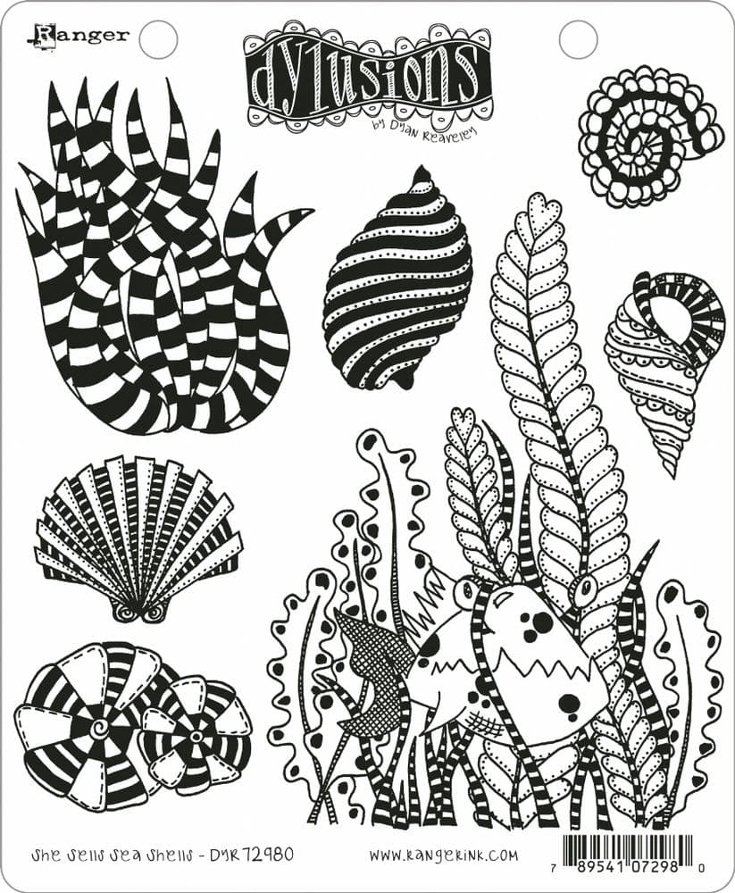 Dylusions - Rubber Stamps - She Sells, Sea Shells