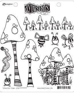 Dylusions - Rubber Stamps - Toadstool Town
