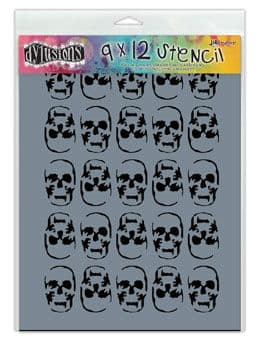 "Dylusions - Stencil - 9x12"" Skulls"