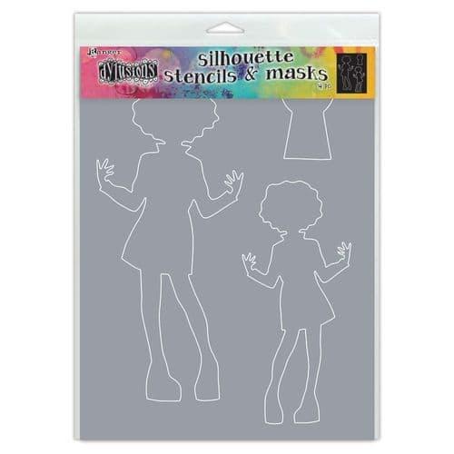 """Dylusions - Stencil Silhouette - 9x12"""" Maisie"""