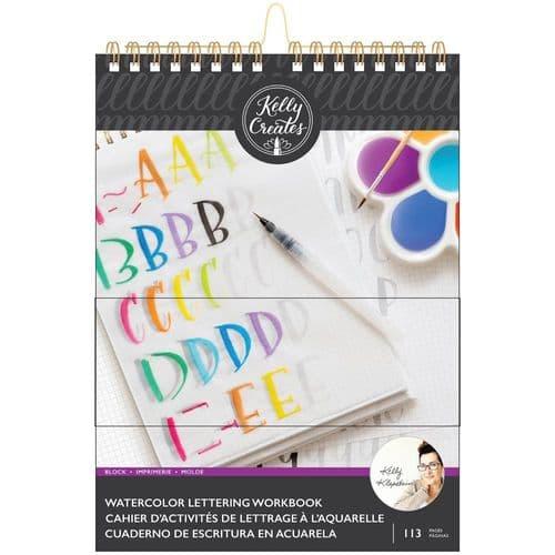 Kelly Creates - Watercolour Brush Lettering Workbook - Block Letters 8.5x11