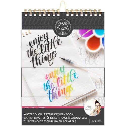 "Kelly Creates - Watercolour Brush Letting Workbook - Words 8.5x11"""
