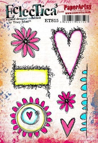 PaperArtsy - Rubber Stamps - E³ Tracy Scott 15 (A5 set, trimmed, on EZ)