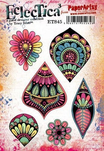 PaperArtsy - Rubber Stamps - E³ Tracy Scott 45  (A5 set, trimmed, on EZ)