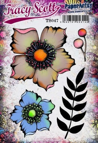 PaperArtsy - Rubber Stamps - E³ Tracy Scott 47  (A5 set, trimmed, on EZ)