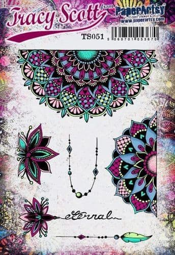 PaperArtsy - Rubber Stamps - E³ Tracy Scott 51 (A5 set, trimmed, on EZ)