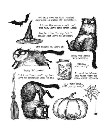 Tim Holtz - Rubber Stamps - CMS407 - Snarky Cat Halloween