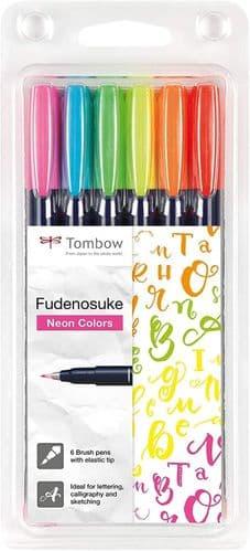Tombow Fudenosuke Brush pen -  Hard Tip  - Neon Set of Six
