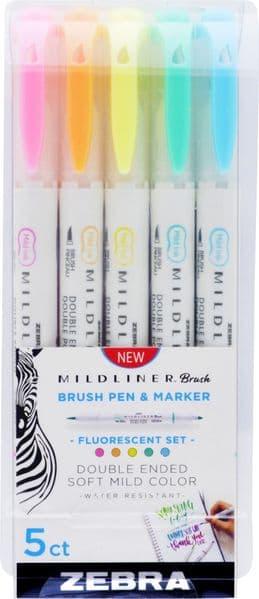 Zebra Pens - Mildliners - Brush pen Set -  Mild & Fluorescent