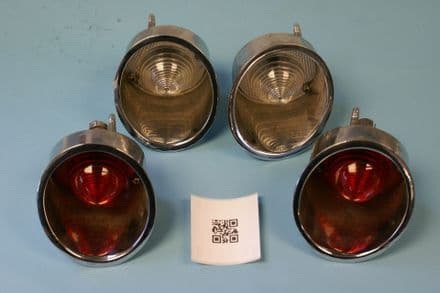 1961-1962 C1 Corvette Set of 4 Rear Tail Lights, Used Good