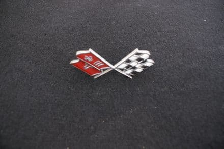 1967 C2 Corvette, X-Flag Nose Emblem,GM 3894544,Used