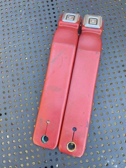 "1984-1994  PAIR  Dark Red   C4  13"" seat belt RECEIVER LATCH  female , button   ,Used"