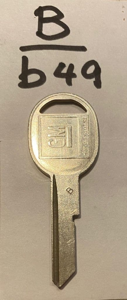 KEY B /  B49 1968-1996 Corvette C3 - C4 Single Sided Oval  Head  Door  Key