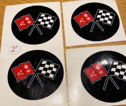 "set of 4 useful 2""  5cm  C2 C3  X-flag adhesive  emblems New"