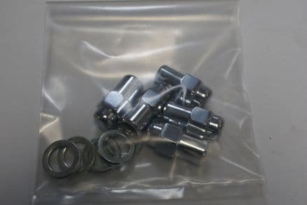 Set of 5 Chrome Lug Nuts W/Washers,12mm x 1.50,11/16 Shank,Flat Seat,New