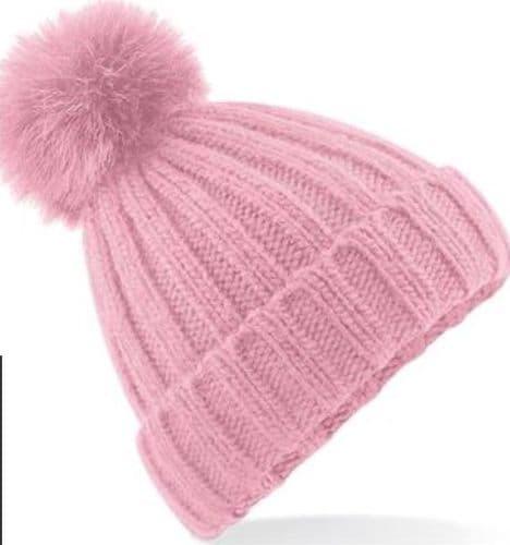 Eliza T Dusty Pink Pom Pom Hat