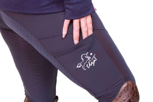 Eliza T Navy Riding Jeggings with Full Seat