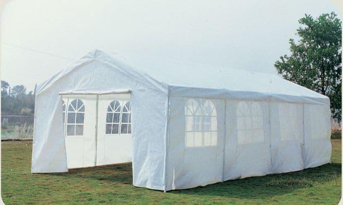 8M X 4M Garden Large Marquee Wedding/Party Tent Gazebo - White Showerproof Pe