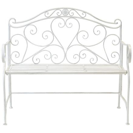 Bentley Garden 2 Seater Wrought Iron Bench Metal Outdoor Seat - White