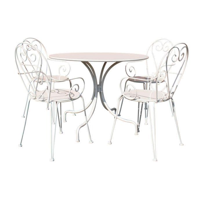 Bentley Garden Furniture Steel Heart 5 Piece Shabby Chic Set - Cream & Grey