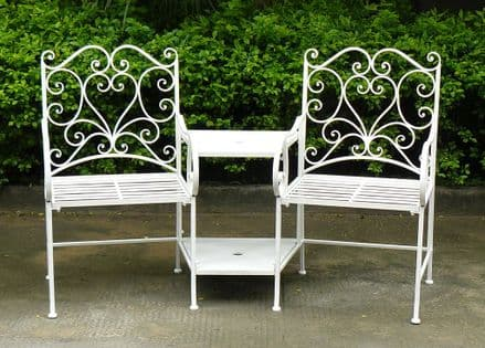 Bentley Garden Heart-Shaped Wrought Iron Companion Seat Love Seat - White