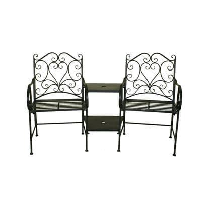 Bentley Garden Heart-Shaped Wrought Iron Companion Seat Love Seat - White/Black