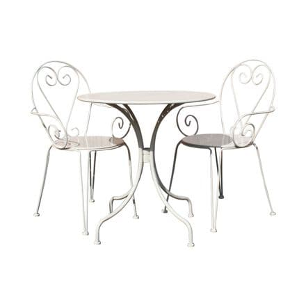 Bentley Garden Outdoor Steel Heart 3 Piece Shabby Chic Bistro Set - Cream & Grey