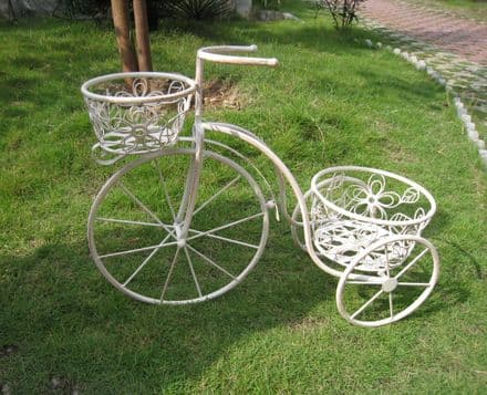 Bentley Garden Wrought Iron Decorative Penny Farthing Tricycle Planter - B/W