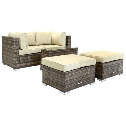 Charles Bentley 2/3 Seater Multi Use Rattan Lounge Set Love Seat Footstools Table - Brown