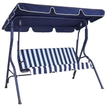 Charles Bentley 2 Seater Garden Patio Swing Seat Hammock Chair - Blue Striped