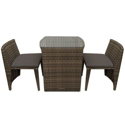 Charles Bentley 2 Seater Rattan Garden Patio Balcony Furniture Set - Brown